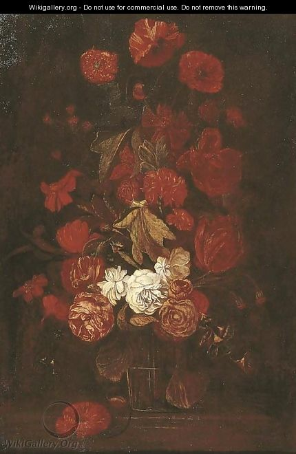 Roses and other flowers in a glass vase on a ledge - (after) Elias Van Den Broeck