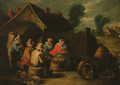 Travellers resting outside a cottage - (after) David The Younger Teniers