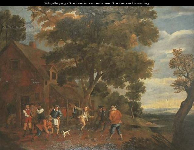 Peasants playing bowls outside an inn - (after) David The Younger Teniers