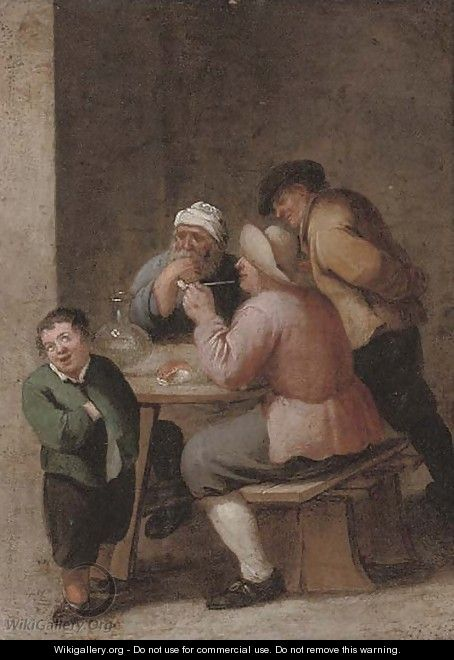 Peasants drinking and smoking in an interior 2 - (after) David The Younger Teniers
