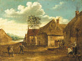 Boors playing at skittle on a farmyard - (after) David The Younger Teniers