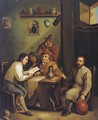 Boors drinking and smoking in an interior - (after) David The Younger Teniers