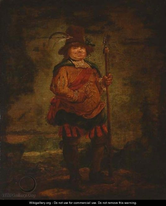 Portrait of a peasant man, standing full-length, wearing a pleated orange doublet and holding a spear - Francisco De Goya y Lucientes