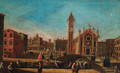 A capriccio view of a Venetian piazza - (after) Francesco Tironi