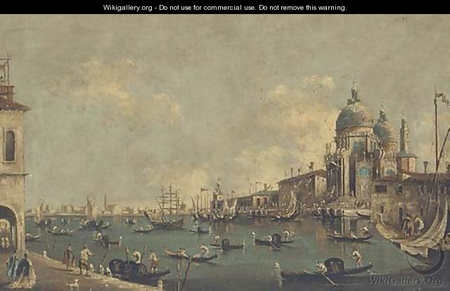 Gondolas and other shipping at the entrance to the Grand Canal before Santa Maria della Salute - (after) Francesco Guardi