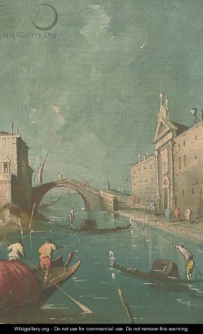 A Venetian canal - (after) Francesco Guardi