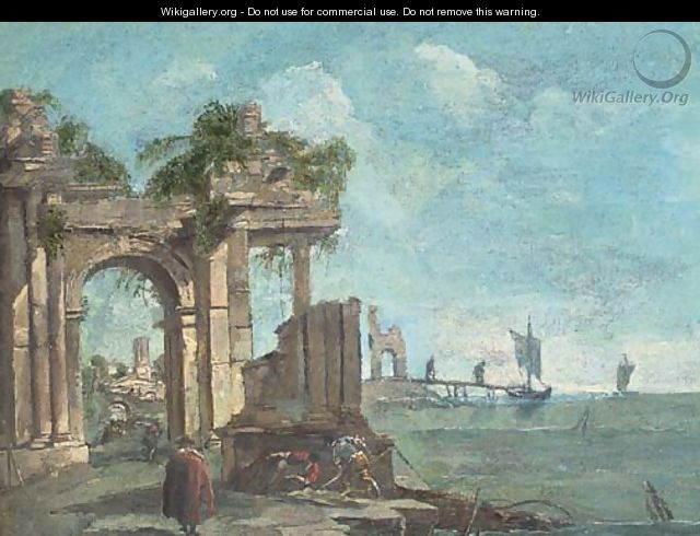 A capriccio of a Mediterranean harbour with figures amongst classical ruins - (after) Francesco Guardi