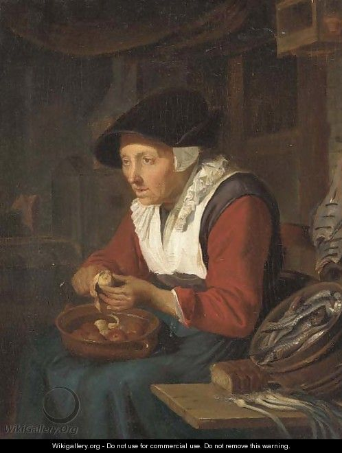 An old woman peeling apples in a kitchen interior - (after) Gerrit Dou