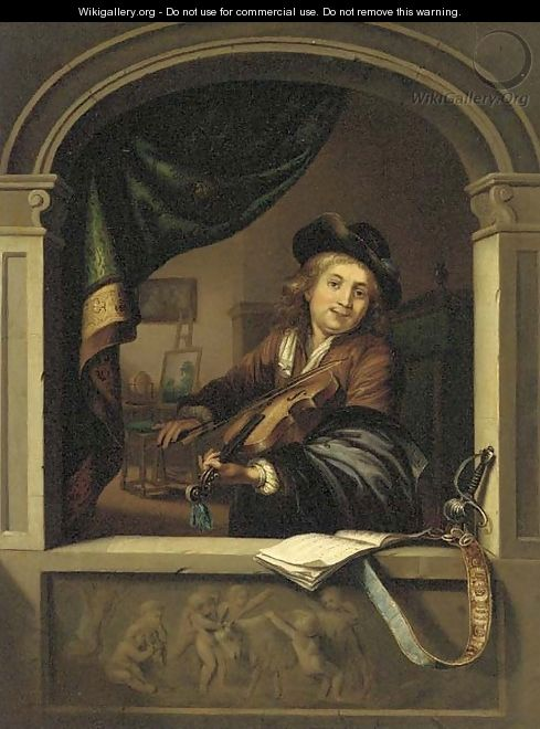 A violin player at a casement - (after) Gerrit Dou