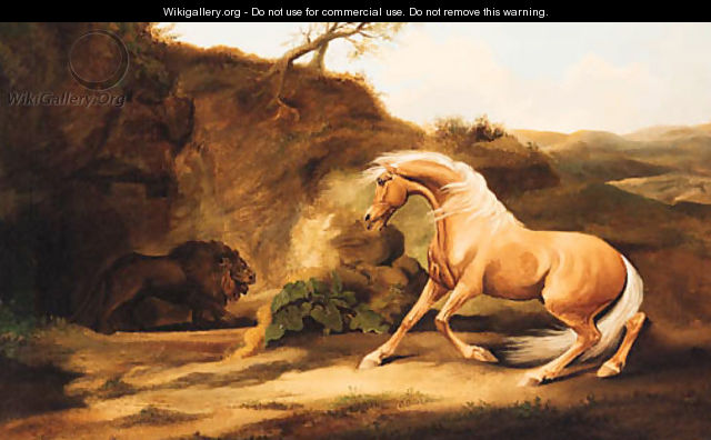 A horse frightened by a lion - George Stubbs