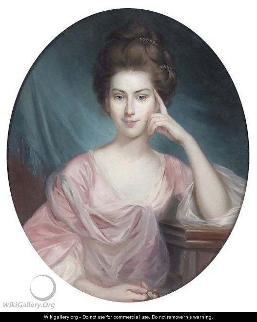 Portrait of a lady, half-length, in a pink dress, holding a miniature - George Romney