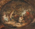 Travellers resting in a wooded landscape, in a painted oval - (after) George Morland