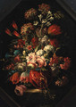 Flowers in a vase on a ledge - (after) Gasparo Lopez