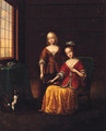 Elegant Ladies With A Toy Spaniel In An Interior - (after) Frans Van Mieris