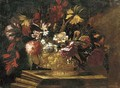 Flowers in a decorative gold vase on a stone plinth - (after) Giuseppe Recco