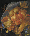 An anthropomorphic portrait of a man composed of apples, pears, grapes and corn on the cob - (after) Giuseppe Arcimboldo
