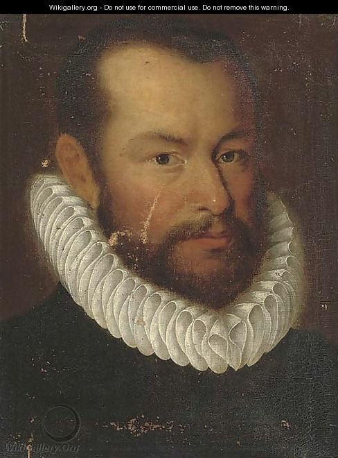 Portrait of a gentleman, bust-length, in a ruff - (after) Giovanni Battista Moroni