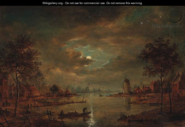 A moonlit river landscape with figures in a boat, a windmill beyond - (after) Aert Van Der Neer
