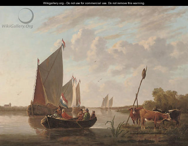 Departing from the riverbank - (after) Aelbert Cuyp