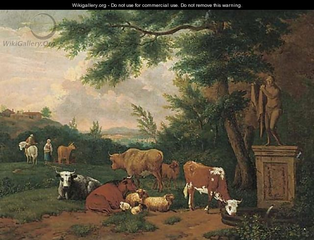 A wooded landscape with cattle and sheep resting by a fountain - (after) Adriaen Van De Velde