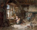 A mother feeding her child and other peasants in an interior - (after) Adriaen Jansz. Van Ostade