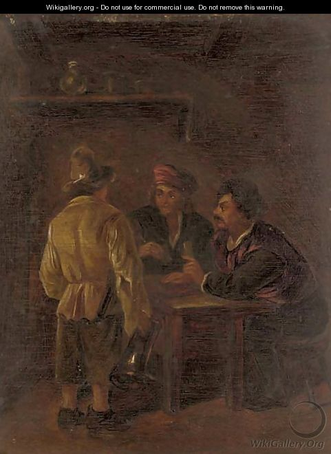 Peasants playing cards in a tavern - (after) Adriaen Jansz. Van Ostade