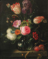 Tulips, roses, ears of corn, snowballs and other flowers in a glass vase with a branch of plums on a stone ledge, butterflies and snails - (after) Abraham Mignon