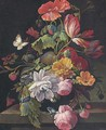 Roses, parrot tulips, poppies and other flowers in a vase on a stone ledge - (after) Abraham Mignon