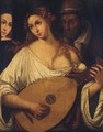 A woman playing the lute by an old man - Tiziano Vecellio (Titian)