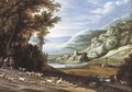 An extensive Italianate landscape with goatherds, a shepherd and their flocks - Maerten Ryckaert