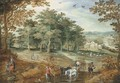 A wooded landscape with travellers and a cart - Maerten Ryckaert