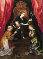 The Madonna and Child enthroned, adored by Saint Lawrence and Saint Martha - Marten Pepijn