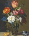 Mixed flowers in a glass vase, with a parrot tulip and a shell on a ledge - (after) Balthasar Van Der Ast