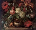Roses, carnations, morning glory and a tulip in a vase on a ledge - (after) Antonio Mezzadri