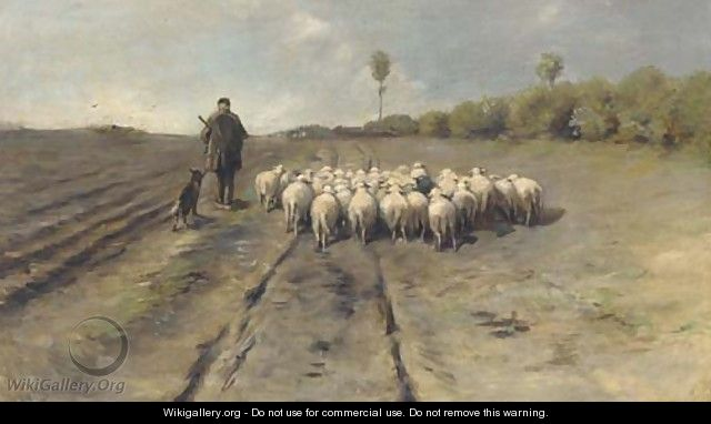 A shepherd leading his flock home - (after) Anton Mauve