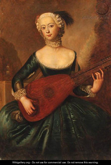 Portrait of a lady, three-quarter-length, in a blue dress, playing a lute - Antoine Pesne
