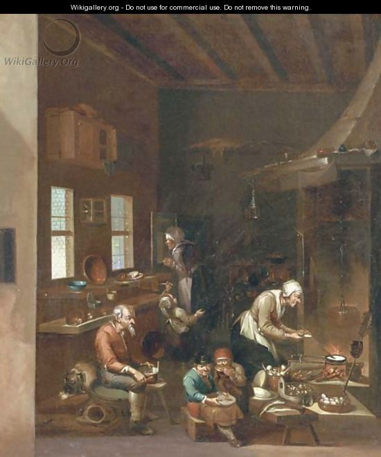 A woman frying pancakes on an open fire, children eating and other figures preparing food in a kitchen - (after) Anthonie Victorijns