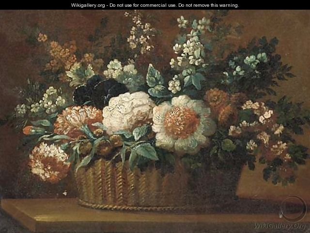 Carnations, roses and other flowers in a basket on a ledge 2 - (after) Anne Vallayer-Coster