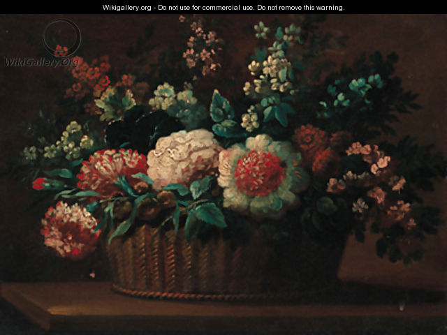 Carnations, roses and other flowers in a basket on a ledge - (after) Anne Vallayer-Coster