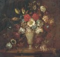 Roses, tulips, and other flowers in a vase with a butterfly on a ledge - (after) Andrea Belvedere