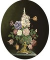 Roses, tulips and gladioli in a glass vase, a bronze figure to the side - Ambrosius The Younger Bosschaert