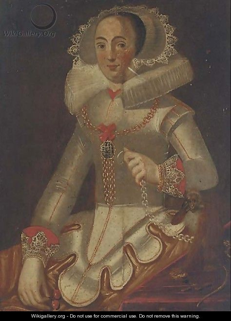Portrait of a lady seated, half-length, in a 16th Century dress - Alonso Sanchez Coello