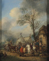 An elegant Hunting Party about to Depart; and Horsemen and other Figures before an Inn - (after) Carel Van Falens Or Valens