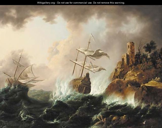 Vessels heading for the rocks in a storm - (after) Bonaventura Peeters