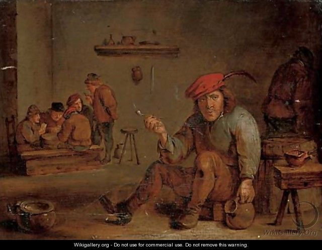 A peasant smoking and drinking in a tavern - (after) David The Younger Teniers