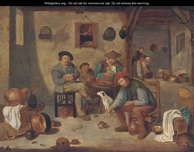 A peasant family in an interior - (after) David The Younger Teniers
