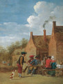 A peasant couple and travellers at table outside an inn - (after) David The Younger Teniers