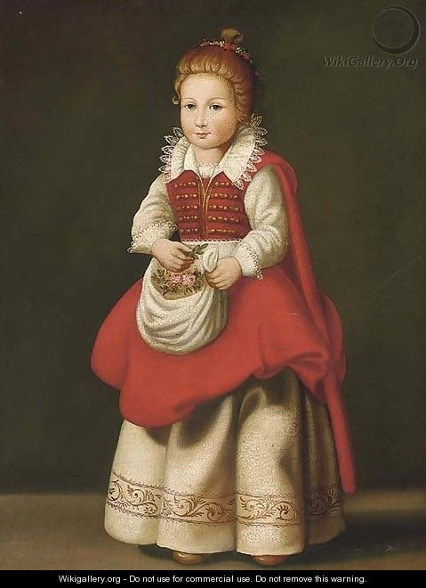 Portrait of a young girl, standing full-length, with flowers in her apron - Cornelis De Vos
