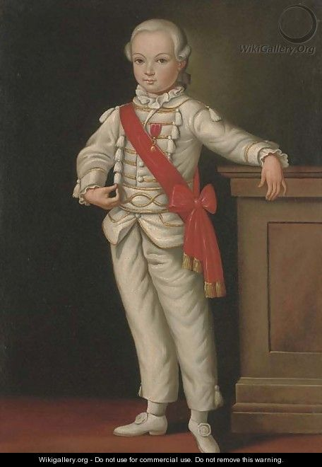 Portrait of a boy, full-length, with a medal and red sash - Cornelis De Vos