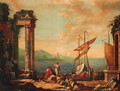 Figures resting by a ruined temple on a quay - (after) Claude Lorrain (Gellee)